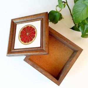 Vtg Wooden Tile Kitchen Box Decor